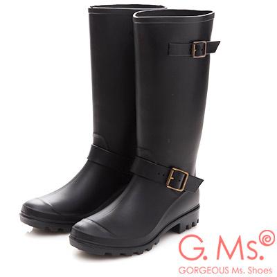G.Ms. 雙皮帶釦長筒雨鞋雨靴-黑色