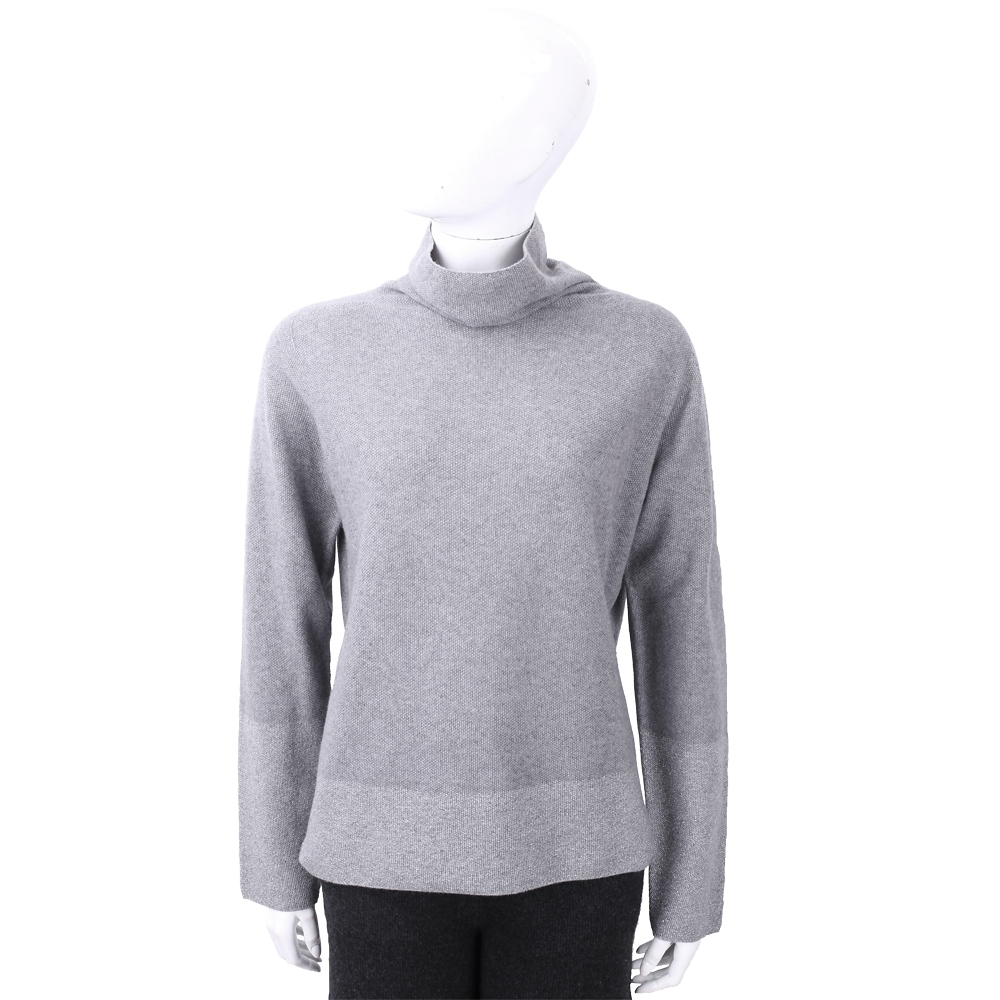 FABIANA FILIPPI 喀什米爾灰拼色高領美麗諾羊毛衫