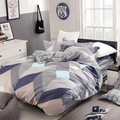 Ania Casa 台灣製 100%純棉 - 單人床包被套三件組 - 動感韻律-灰