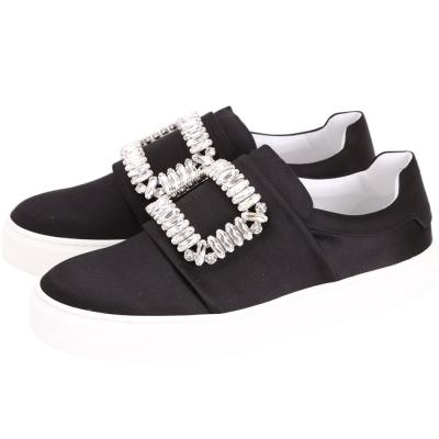 Roger Vivier Sneaky Viv 水晶方框絲緞便鞋(黑色)