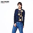 BIG TRAIN 招福財貓圓領長袖-女-深藍
