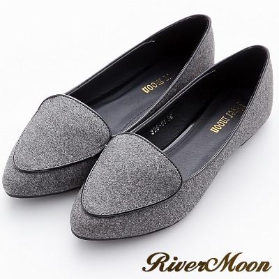River&Moon加大尺碼-韓版極簡細絨滾邊尖頭樂福鞋-灰系