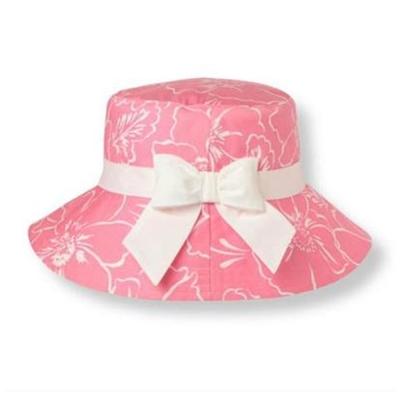 英版-歐美粉色女童花朵印花大盆帽