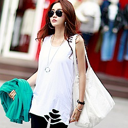 正韓 個性割破下擺圓領無袖T恤 (共三色)-N.C21