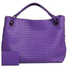 BOTTEGA VENETA 經典羊皮編織手提/肩背包(紫色)