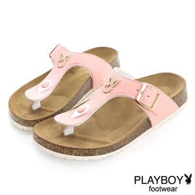PLAYBOY 清新樣貌 可愛色系兔頭夾腳拖鞋-粉(女)