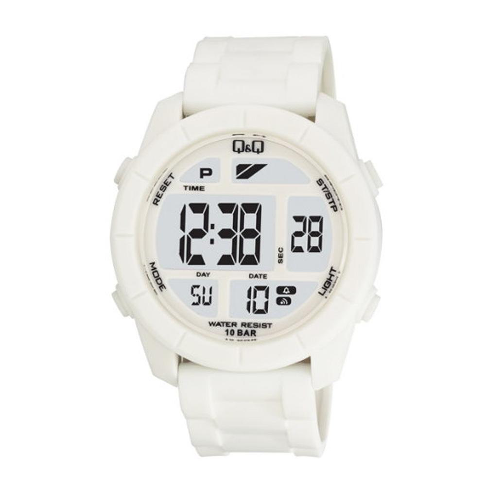 Q&Q 彩色潮流大鏡面多功能電子錶-白/47mm