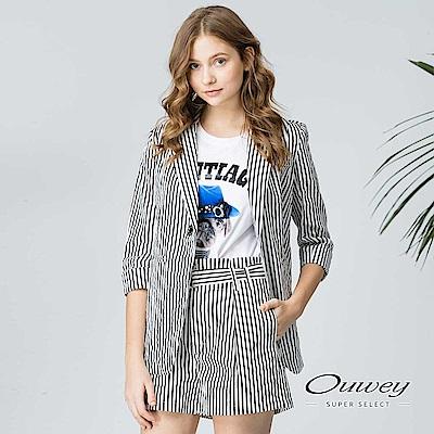 OUWEY歐薇 都會率性條紋寬襬外套(黑)
