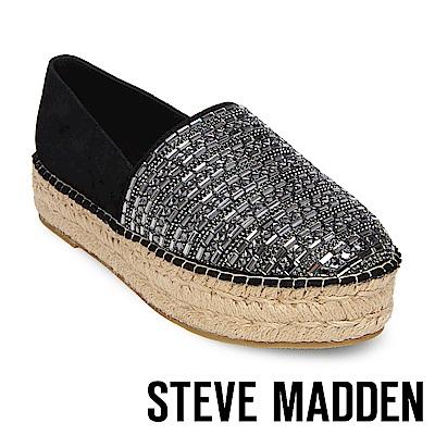 STEVE MADDEN-PROUD 麂皮幾何寶石鑽飾厚底麻編鞋-黑色