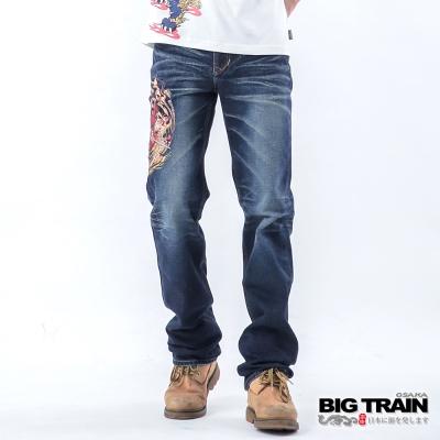 BIG TRAIN 鍾馗火焰小直筒-男-深藍
