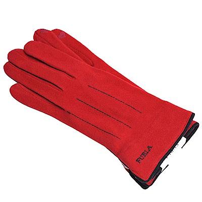 FURLA 品牌字母刺繡LOGO保暖造型可觸控手套(紅色)