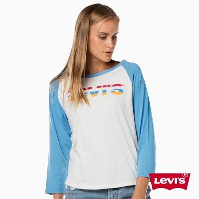 圓領七分袖上衣 女裝 彩虹LOGO - Levis