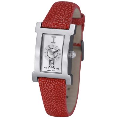 ICEBERG 珍愛自我系列珍珠魚皮錶帶腕錶-銀白x紅色錶帶/21x30mm