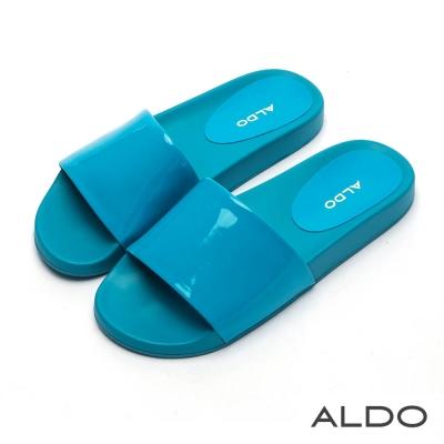 ALDO 沁涼果凍色寬版懶人涼拖鞋~海軍藍色
