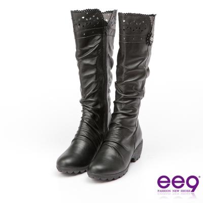 ee9 MIT經典手工~質感簡約自然抓皺星光閃耀粗跟長筒靴*黑色