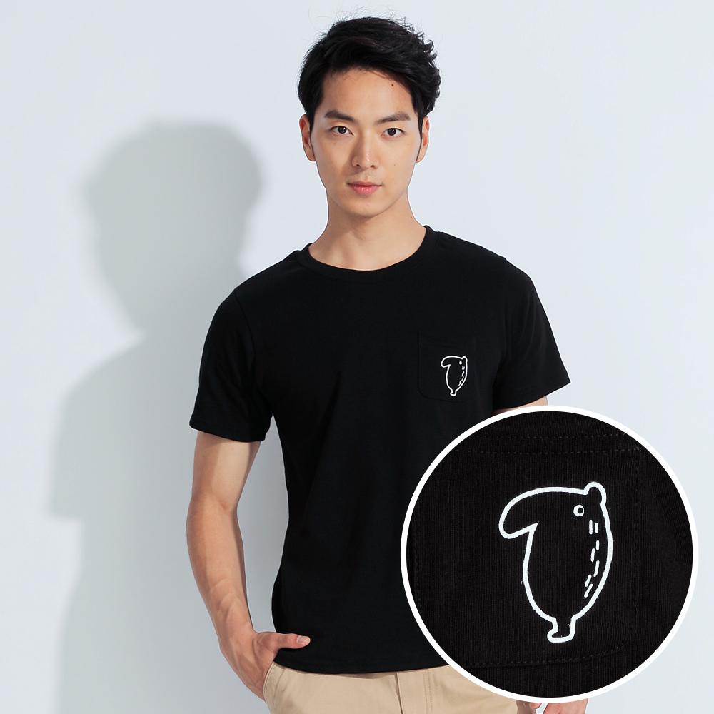 101原創 馬來貘-Little LAIMO造型下擺圓領口袋T恤上衣-黑