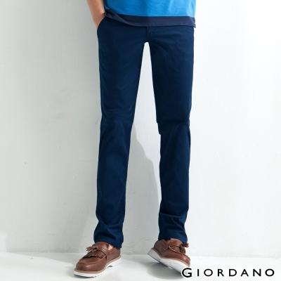 GIORDANO男裝低腰修身窄管彈性休閒褲-66海