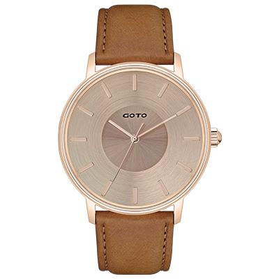 GOTO THINK簡約時尚手錶-IP玫/43mm
