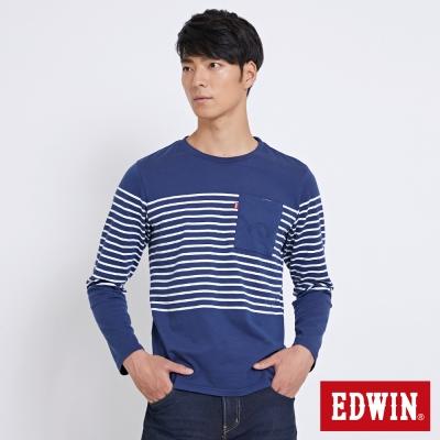 EDWIN 休閒條紋貼袋長袖T恤-男-土耳其藍