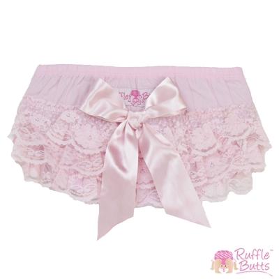 RuffleButts 小女童甜美大蝴蝶結蕾絲包屁褲-粉色款