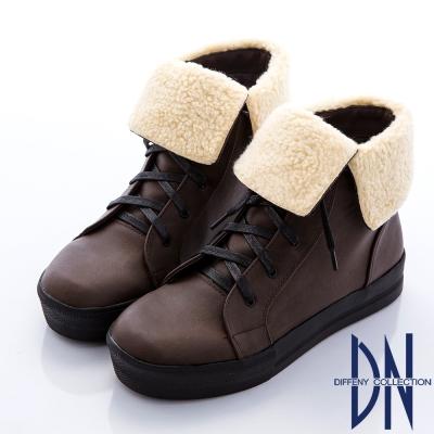 DN 迷人丰采 質感綁帶翻領平底短靴-咖
