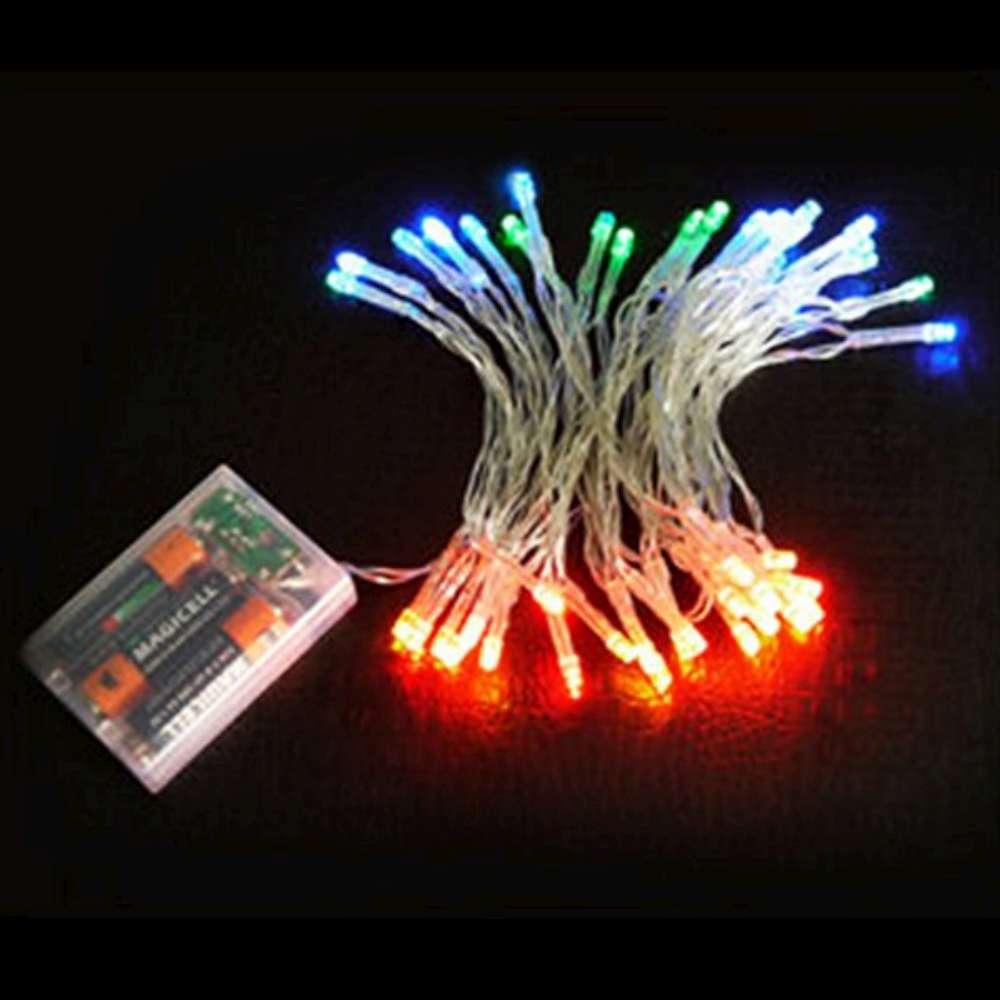 聖誕燈LED燈串50燈電池燈(四彩色光/透明線)(高亮度又環保)