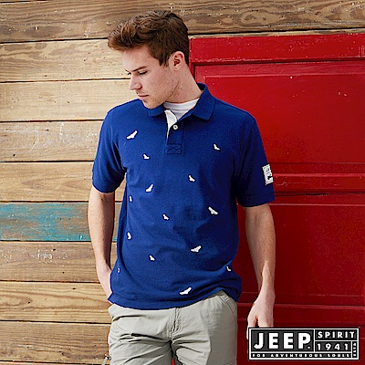 JEEP 滿版造型刺繡短袖POLO衫-藍色