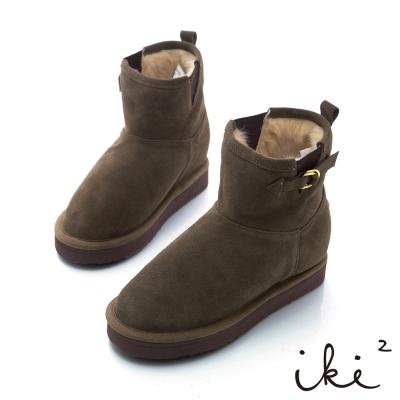 iki2機能雪靴系列-法式心指針扣環真皮雪靴-淺棕