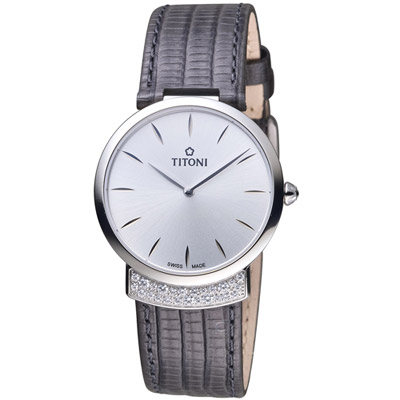 TITONI MADEMOISELLE優雅伊人系列皮革腕錶-深灰色/32mm