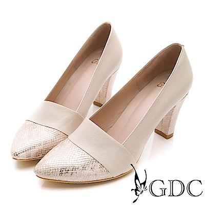 GDC-真皮高雅蛇紋拼接尖頭淑女跟鞋-米杏色