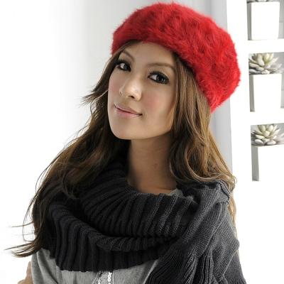 Aimee Toff 優雅甜心氣質百搭兔毛貝蕾帽(紅)
