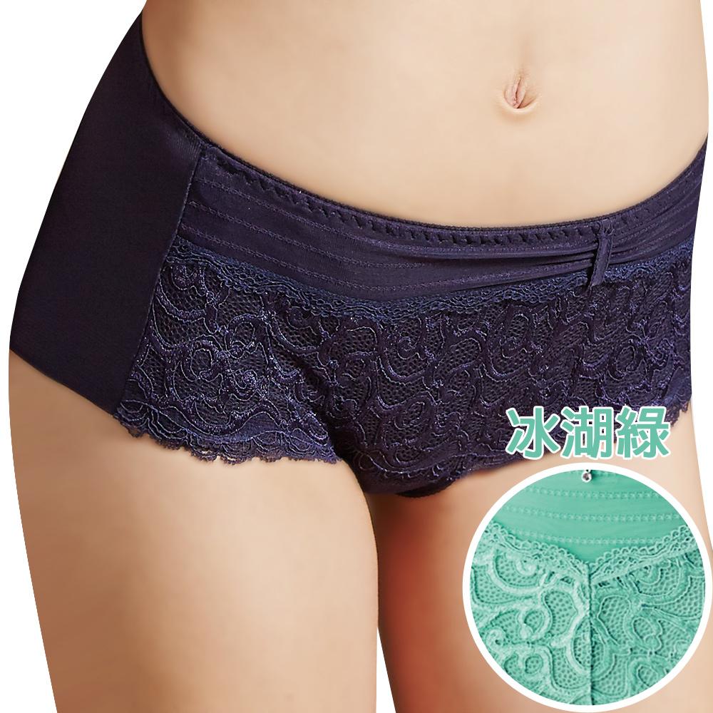 思薇爾 撩波系列M-XL蕾絲中低腰平口褲(冰湖綠)