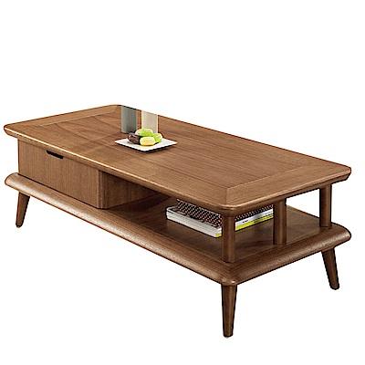 品家居 伊比利4尺木紋單抽大茶几-120x60x40cm免組