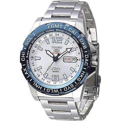 SEIKO 日製地球紋百米5號24石自動機械男錶(SRP687J1)-藍框/45mm
