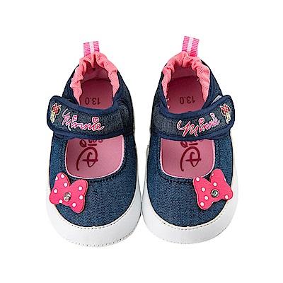 迪士尼 米妮 牛仔風蝴蝶結造型 娃娃鞋-深藍
