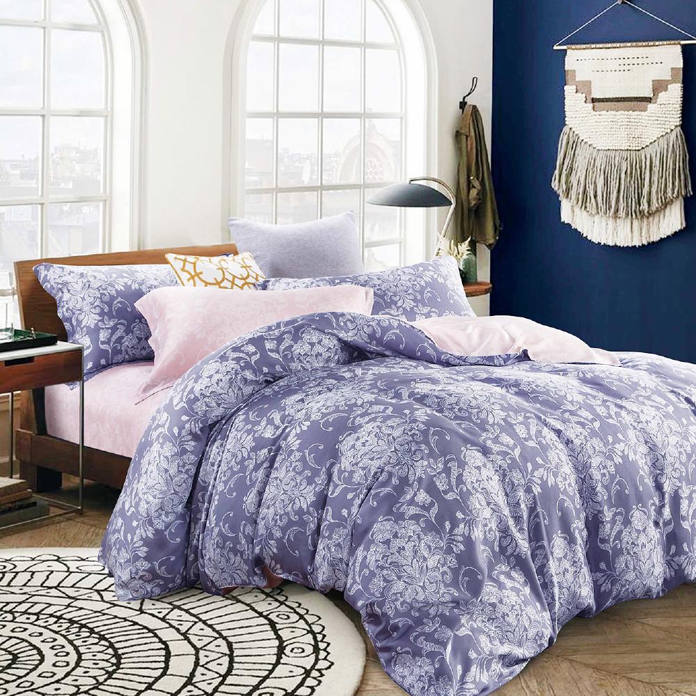Saint Rose 悠然-紫 特大100%純天絲兩用被套床包四件組