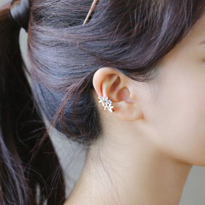 Hera赫拉韓國熱銷線條樹葉耳環耳骨夾金銀二顆入