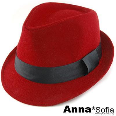 AnnaSofia-簡約毛呢-歐式紳士帽-櫻紅