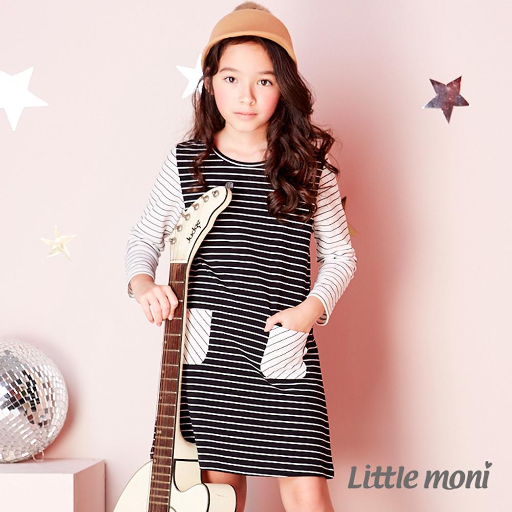 Little moni條紋撞色拼接洋裝 (共2色)