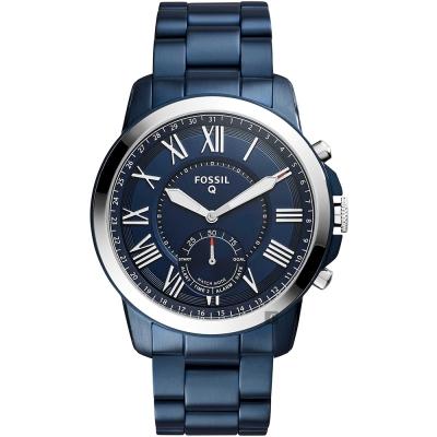 FOSSIL Q Grant 指針式智慧型腕錶(FTW1140)-藍/44mm