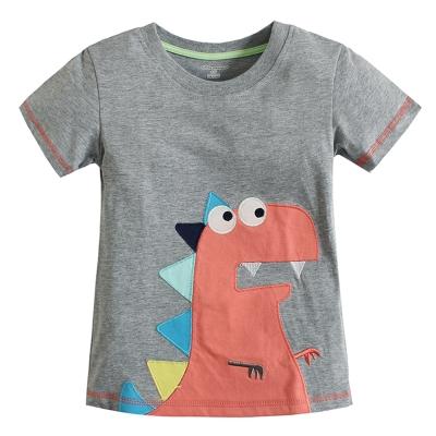 歐美風格設計 小童男童短棉T居家外出 小恐龍 灰色