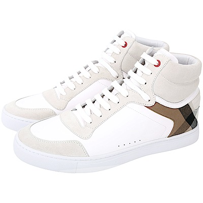 BURBERRY House 格紋拼接皮革高筒運動鞋(男鞋/白色)
