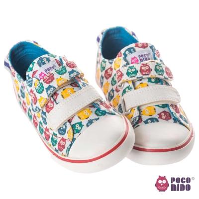 英國 POCONIDO 時尚貓頭鷹黏貼兒童帆布鞋