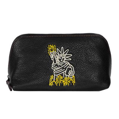 COACH Keith Haring自由女神黑色全皮梯型化妝包(中)