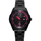 BAKLY 重裝系列爭鋒時刻玻麗腕錶-黑x桃紅/46mm