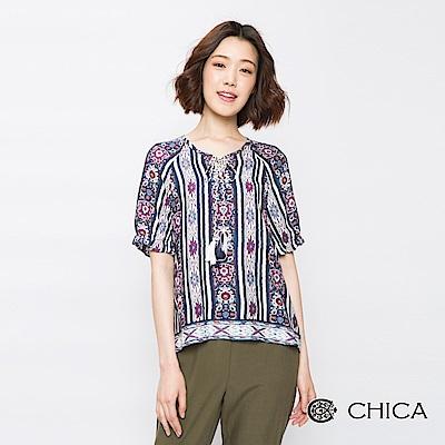 CHICA 復古民俗風圖騰綁帶設計上衣(2色)