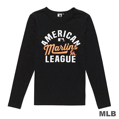 MLB-邁阿密馬林魚隊美式風印花長袖T恤-黑 (女)