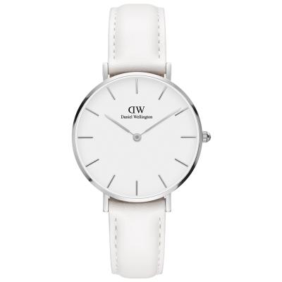 DW Daniel Wellington 純白時尚經典邦迪皮帶腕錶-銀框/32mm