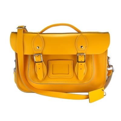 The Leather Satchel 英國手工牛皮劍橋包 肩背手提包 繽紛黃 12.5吋
