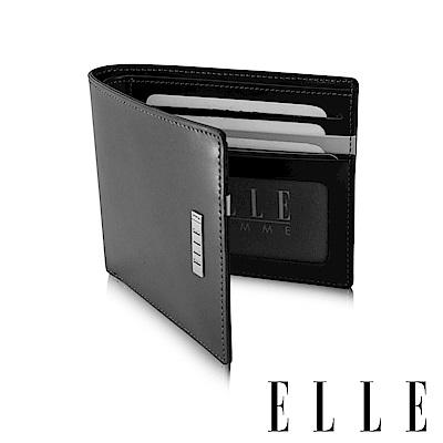福利品 ELLE 法式撞色拼接系列 頭層皮鈔票/證件/名片多格層設計短夾- 黑色